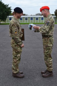 Pte Macklam, 150 Regt RLC, is awarded Best Recruit