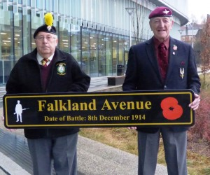Peter Clegg, President of Rochdale Fusiliers Association (left) with Brian Lamb, President of Rochdale Parachute Regiment Association with one of the new street signs.