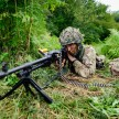A 4 MERCIAN soldier with the general purpose machine gun (GPMG) on exercise in Croatia