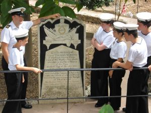 A few of the cadets having the Battle of Trafalgar explained to them.